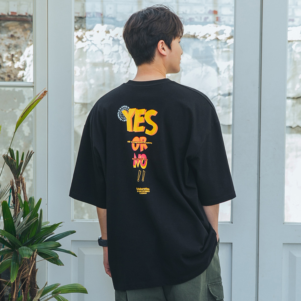 [alvinclo_enormous] XL~4XL 빅사이즈 YES or NO 오버핏 반팔티 BE54724 (3color)